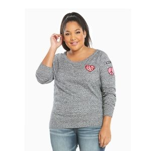 Torrid Marled Knit Patch Sweater